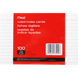 "Mead White 4"" x 6"" Ruled Index Cards"