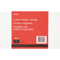 "Mead Index Cards, Ruled, 5""x8"", 100/PK, White"