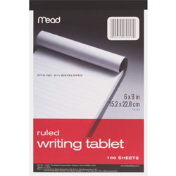 "Mead Writing Tablet, Top-bound, Ruled, 20 lb., 6"" x 9"" 100 Sh, White"