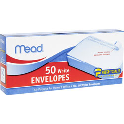 Mead Plain Envelopes, No. 10, Self Sealing, White