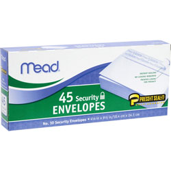 Mead Security Envelopes, Self Sealing, #10, 45/Box, White