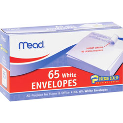 Mead Plain Envelopes, No. 6.75, Self Sealing, White