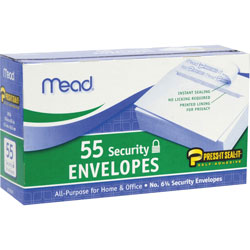 Mead Security Envelopes, Self Sealing, #6.7, 55/Box, White