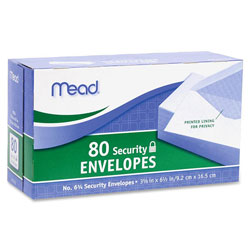 Mead Security Envelopes, #6.75, 80/PK, White