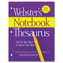 Merriam-Webster Notebook Thesaurus, Three Hole Punched, Paperback, 80 Pages