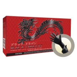 Micro Flex Black Dragon Powder Free Black Latex Exam Gloves Medium