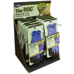 Magid The ROC Latex Coated Palm, Bamboo Shell Glove Counter Top Display