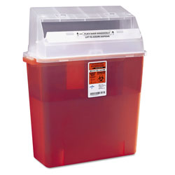 Medline Sharps Container For Patient Room, Red, 3 Gal., 14 x 6 x 20.5