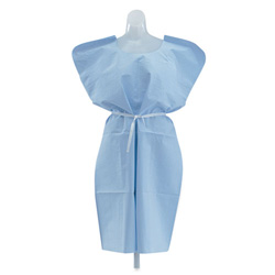 Medline Disposable Patient Gowns, 3-Ply T/P/T, Blue, 50/Carton