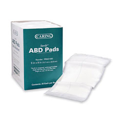 "Medline Abdominal Pads, Sterile, 5"" x 9"", 25/Box, White"