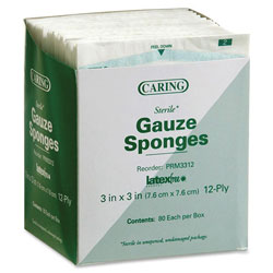 "Medline Gauze Sponges, Sterile, 3""x3"", 12 Ply, 80/PK, White"