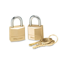 "Master Lock Company Twin Brass 3 Pin Tumbler Locks, 3/4"" Wide, 2 Locks/Keys per Pack"