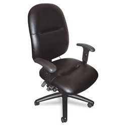 Mayline 24-Hour High-Performance Swivel Task Chair, Black Leather
