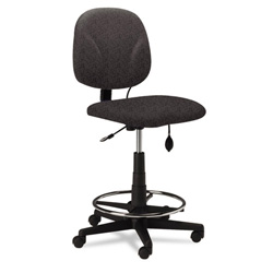Mayline Adjustable Swivel Task Stool, Gray Fabric