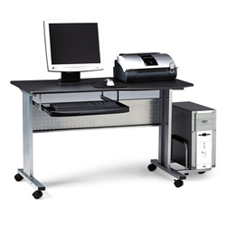 Mayline Eastwinds Mobile Work Table, 57w x 23-1/2d x 29h, Charcoal Laminate Top