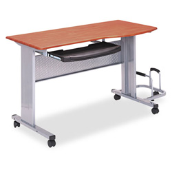 Mayline Eastwinds Mobile Work Table, 57w x 23-1/2d x 29h, Medium Cherry Laminate Top