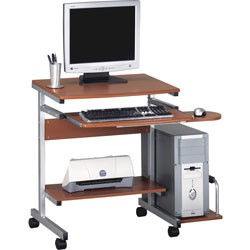 Mayline Portrait Mobile PC Workstation, 36-1/2w x 28-1/2d x 30h, Med Cherry Laminate Top