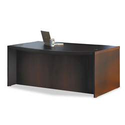 Mayline Aberdeen Bow Front Desk Shell, 72w x 42d x 29-1/2h, Chocolate