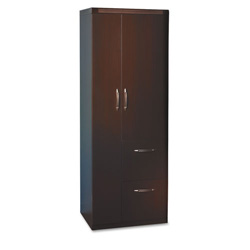 Mayline Aberdeen Personal Storage Tower, 2 Shelves, 24 X 24 X 68-3/4, Chocolate