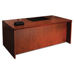 Mayline Mira Series Wood Veneer Straight Front Desk, 72w x 36d x 29 1/2h, Medium Cherry