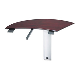 Mayline Napoli Series Right Curved Desk Extension, 47w x 28d x 29-1/2h, Mahogany