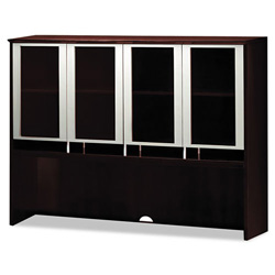 Mayline Napoli Veneer Series Hutch with Glass Doors, 63w x 15d x 50-1/2h, Mahogany
