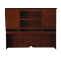 Mayline Sorrento Series Hutch w/ Wood Doors, Veneer, 72w x 15d 52-1/2h, Bourbon Cherry
