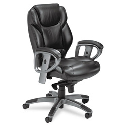 Mayline 300 Series Mid-Back Swivel/Tilt Chair, Black Leather
