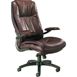 Mayline High-Back Swivel/Tilt Chair, Gunmetal Aluminum Base, Burgundy Leather
