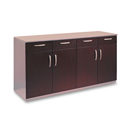 Mayline Buffet Credenza Doors/Drawers, Mahogany Finish