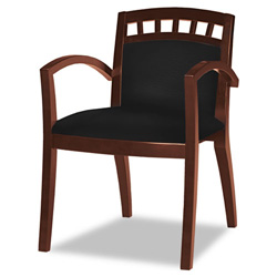 Mayline Mercado Series Arch-Back Wood Guest Chair, Mahogany Finis, Black Leather