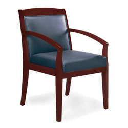 "Mayline Guest Chairs, 21-1/2"" x 23 1/2"" x 34"", Black Leather, Sierra Cherry"