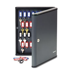 MMF Industries Locking 60-Key Cabinet, 11-3/4w x 2-3/8d x 14-3/4h, Charcoal Gray