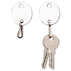 "MMF Industries Snap Hook Key Tags for Hook Style Racks/Cabinets, 1-1/4""h, White, 20/Pack"
