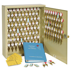 MMF Industries Numbered Two Tag Locking Key Cabinet, 120 Key Capacity, Sand