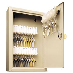 MMF Industries Single Tag Slotted Locking Key Cabinet, 30 Key Capacity, Sand