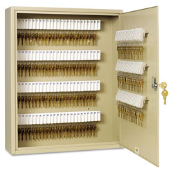"MMF Industries Key Cabinet, 200-key, Steel, Sand, 16 1/2"" x 4 3/4"" x 20 1/8"""