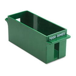 MMF Industries Extra Capacity Rolled Coin Storage Tray, Holds $200/Dimes, Green
