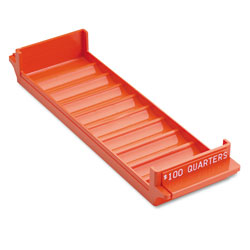 MMF Industries System Rolled Coin Storage Tray, Holds $100 in Quarters, Orange