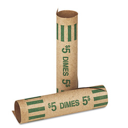 MMF Industries Preformed Kraft Paper Tubular Coin Wrappers, Holds 50 Dimes, Green, 1000/Box
