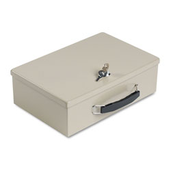 MMF Industries Locking Heavy Duty Steel Fire Retardant Security Cash Box, Sand