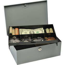 MMF Industries Locking Heavy Duty Steel Cash Box, Gray, 4 3/8""