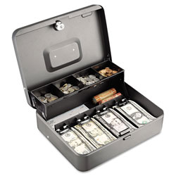 MMF Industries Tiered Cash Box with Bill Weights, 12 in, Cam Key Lock, Charcoal