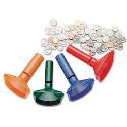 MMF Industries Coin Counting Tubes, Four Color Coded Tubes for Pennies through Quarters