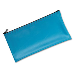 MMF Industries Leatherette Zippered Wallet, Leather Like Vinyl, 11w x 6h, Marine Blue
