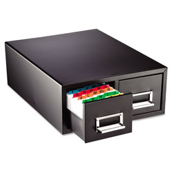 "MMF Industries Card Cabinet File, 2 Drawer, 3000 Card Cap, 5""x8"", Black"