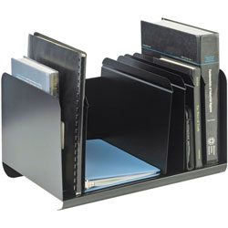 MMF Industries Adjustable Steel Book Rack, 6 Compartments, 15w x 11d x 8 7/8h, Black