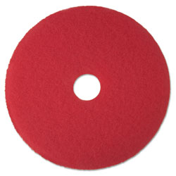 "3M Red Buffer Floor Pads 5100, Low-Speed, 16"", 5/Carton"