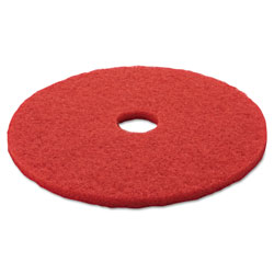 "3M Low-Speed Buffer Floor Pads 5100, 20"" Diameter, Red, 5/Carton"