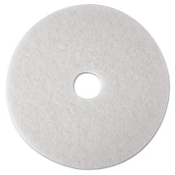 "3M Low-Speed Super Polishing Floor Pads 4100, 16"" Diameter, White, 5/Carton"